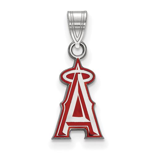 Sterling Silver 1/2in Los Angeles Angels Enamel Logo Pendant