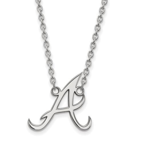 Sterling Silver 3/4in Atlanta Braves D Pendant on 18in Chain