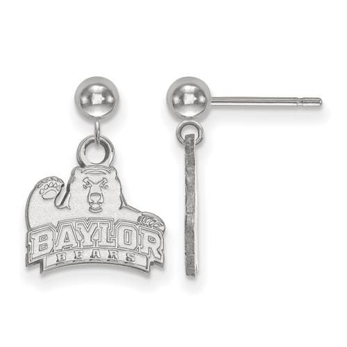Sterling Silver Baylor University Dangle Ball Earrings