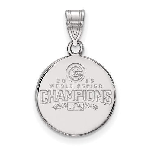 Sterling Silver 5/8in Chicago Cubs 2016 Word Series Laser-cut Pendant