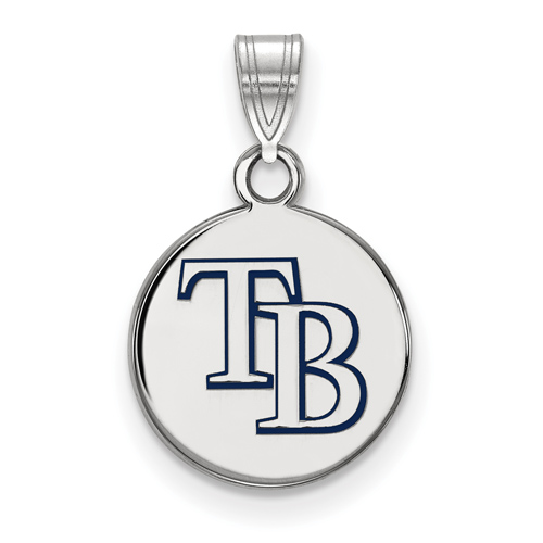 Sterling Silver 1/2in Tampa Bay Rays Round Enamel Pendant