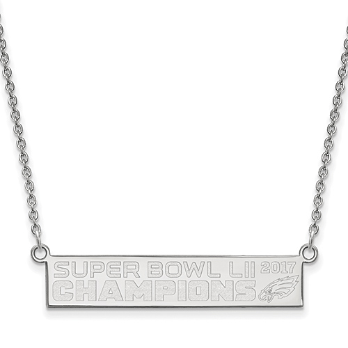 Sterling Silver Philadelphia Eagles Super Bowl LII Champs Bar Necklace