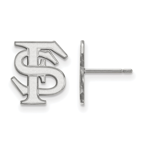 14kt White Gold Florida State University Logo Post Earrings