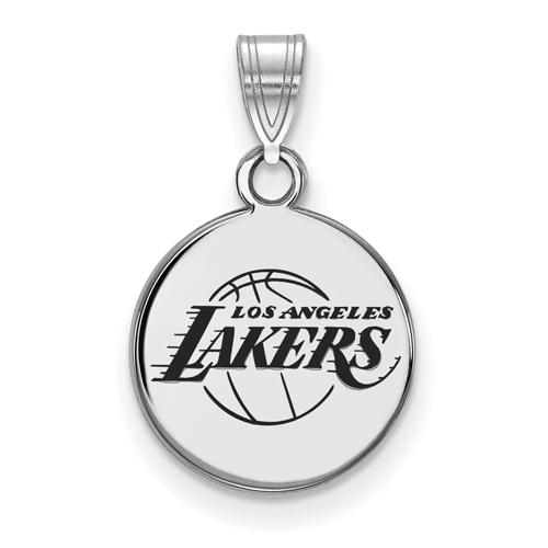 Sterling Silver 1/2in Round Los Angeles Lakers Enamel Pendant