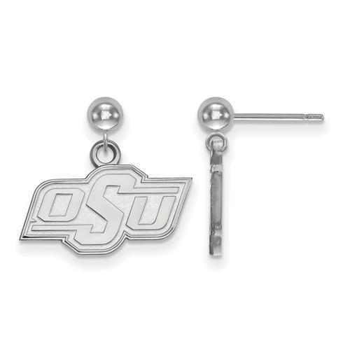 Sterling Silver Oklahoma State University Dangle Ball Earrings