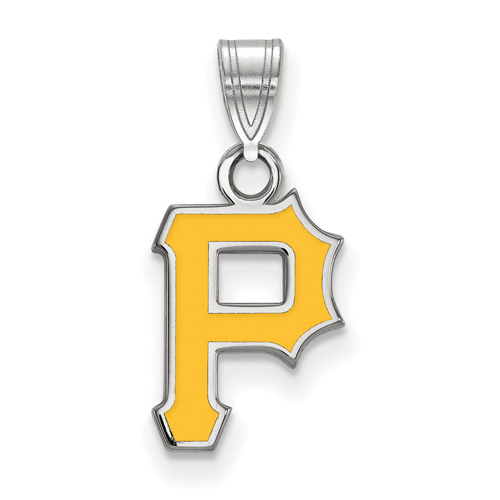 Sterling Silver 1/2in Pittsburgh Pirates P Enamel Pendant