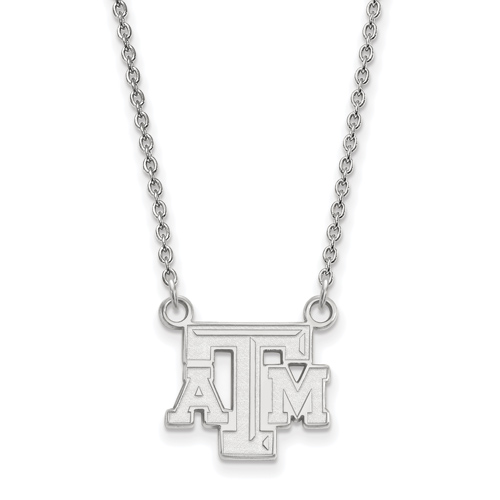 Silver Texas A&M University Beveled Logo Pendant with 18in Chain