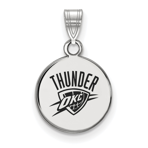 Sterling Silver 1/2in Oklahoma City Thunder Round Enamel Pendant