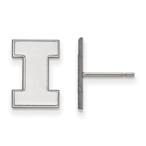 Sterling Silver University of Illinois Block I Small Post Earrings