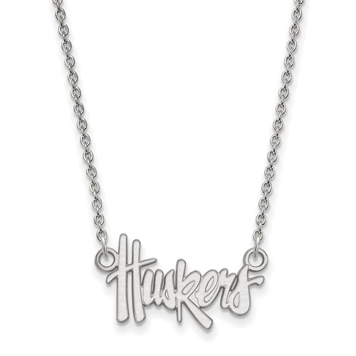 Sterling Silver 1/2in University of Nebraska Huskers Pendant with 18in Chain
