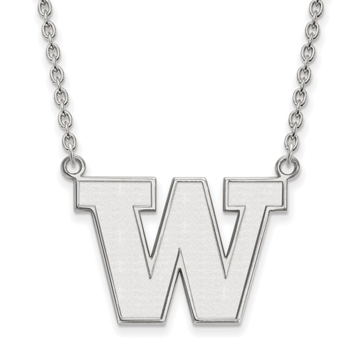Sterling Silver University of Washington W Pendant with 18in Chain