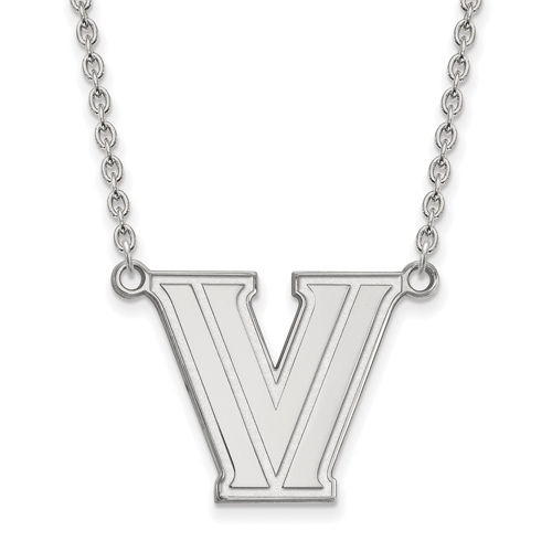 Villanova University V Pendant on 18in Chain Sterling Silver