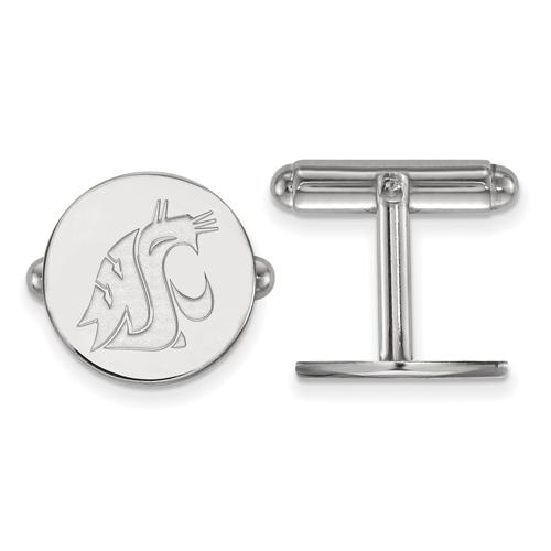 Sterling Silver Washington State University Round Logo Cuff Links