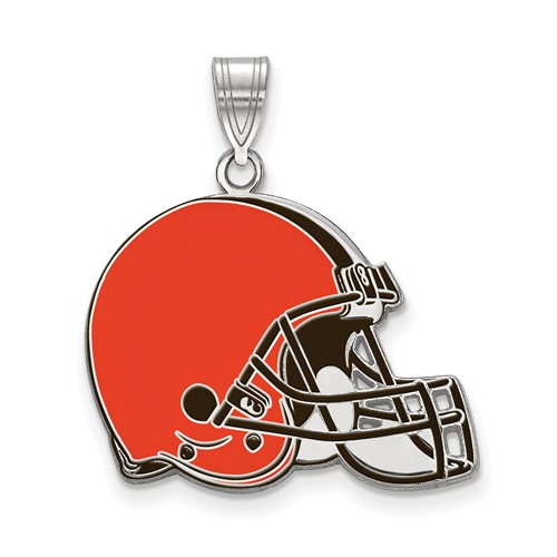 Cleveland Browns Enamel Pendant 1/2in Sterling Silver