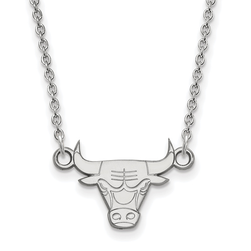Sterling Silver 3/8in Chicago Bulls Pendant on 18in Chain