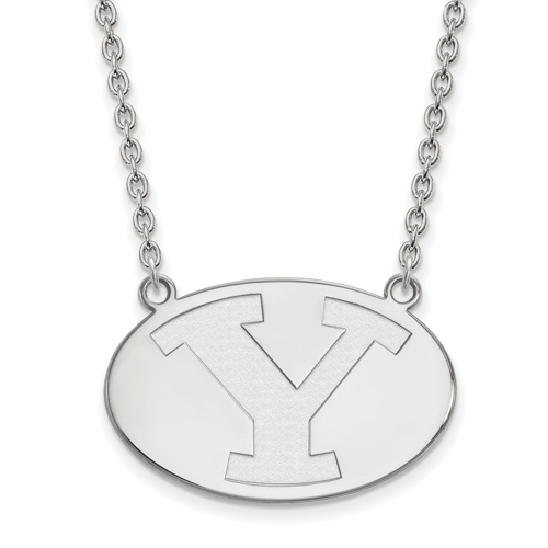 Brigham Young University Oval Necklace 3/4in 14k White Gold