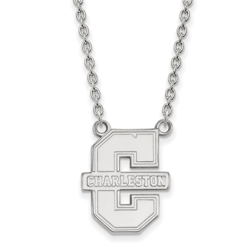 College of Charleston Logo Necklace 3/4in 14k White Gold