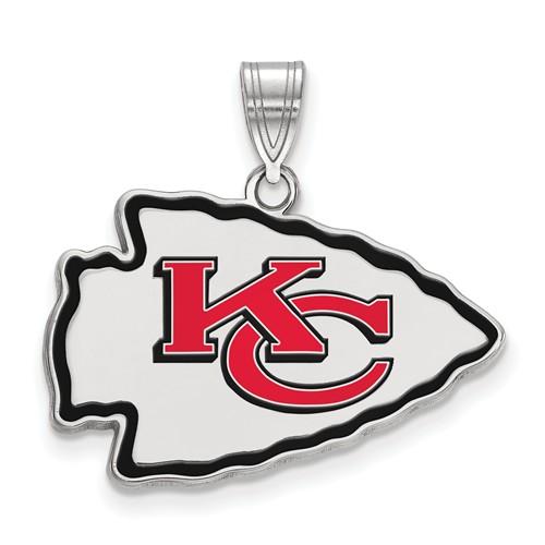 Kansas City Chiefs Enamel Pendant 1/2in Sterling Silver