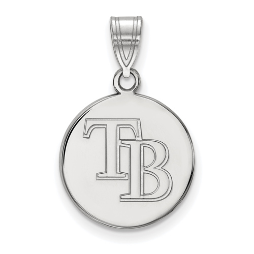 Sterling Silver 5/8in Round Tampa Bay Rays Pendant