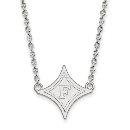 10k White Gold Furman University Diamond Pendant with 18in Chain