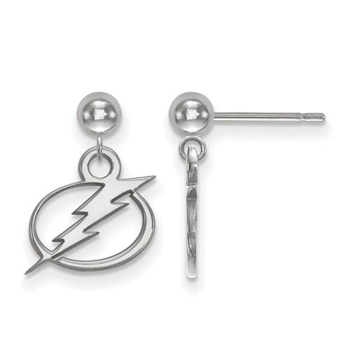 14k White Gold Tampa Bay Lightning Dangle Ball Earrings