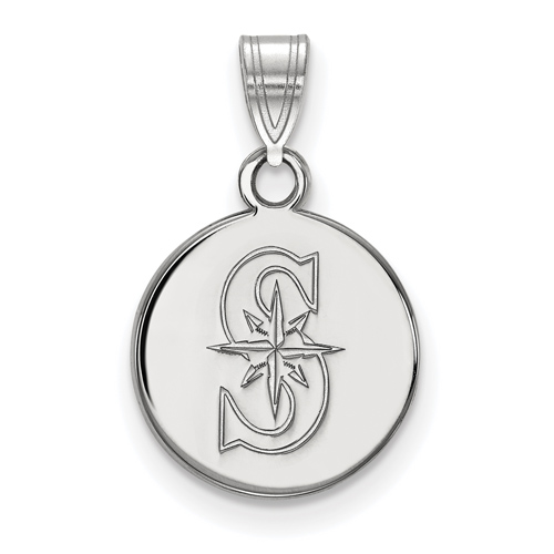 10k White Gold 1/2in Seattle Mariners S Round Pendant