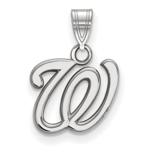 10k White Gold 1/2in Washington Nationals Baseball Pendant