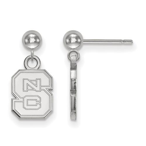 Sterling Silver North Carolina State University Logo Dangle Ball Earrings