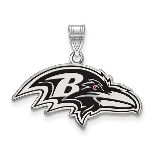 Baltimore Ravens Small Enamel Pendant Sterling Silver