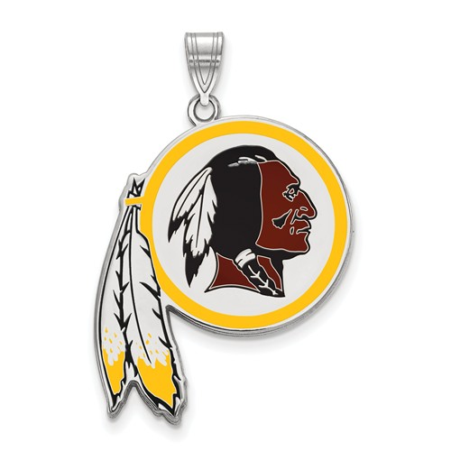 Washington Redskins Enamel Pendant 3/4in Sterling Silver