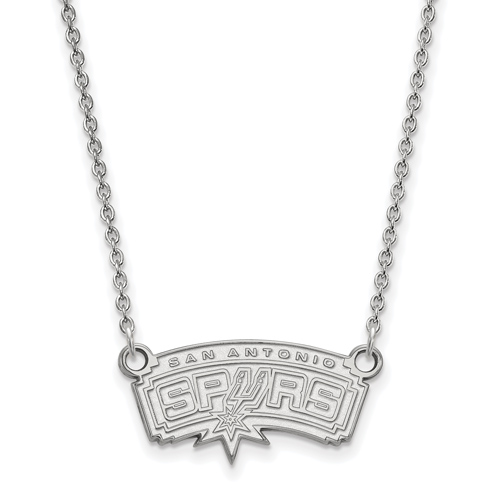 Sterling Silver 3/8in San Antonio Spurs Pendant on 18in Chain