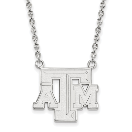 Sterling Silver 3/4in Texas A&M University Beveled ATM Pendant with 18in Chain