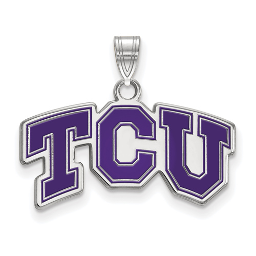 Sterling Silver 1/2in Texas Christian University TCU Enamel Pendant