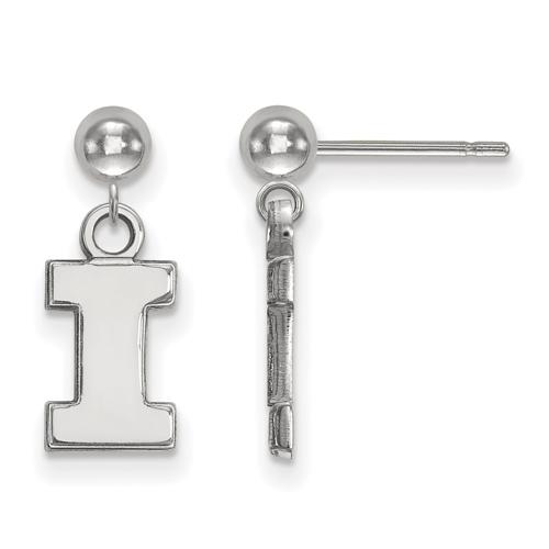 Sterling Silver University of Illinois Logo Dangle Ball Earrings