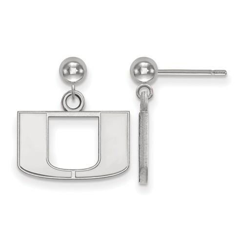 14kt White Gold University of Miami Logo Dangle Ball Earrings