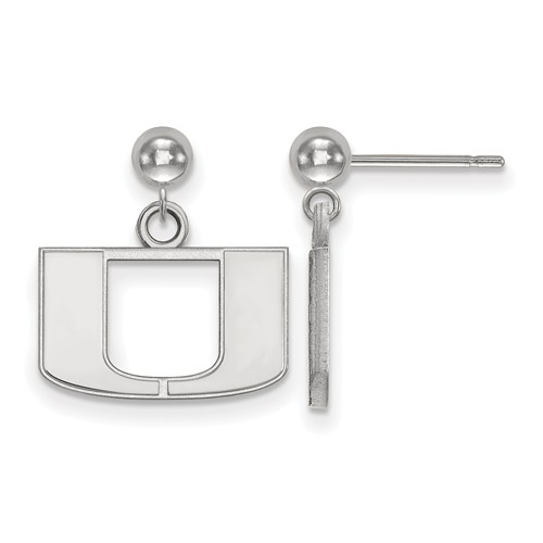 Sterling Silver University of Miami Logo Dangle Ball Earrings
