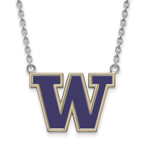 Sterling Silver University of Washington W Enamel Pendant with 18in Chain