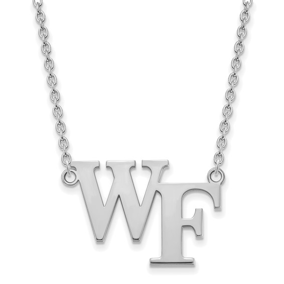 Wake Forest University WF Necklace 3/4in 14k White Gold
