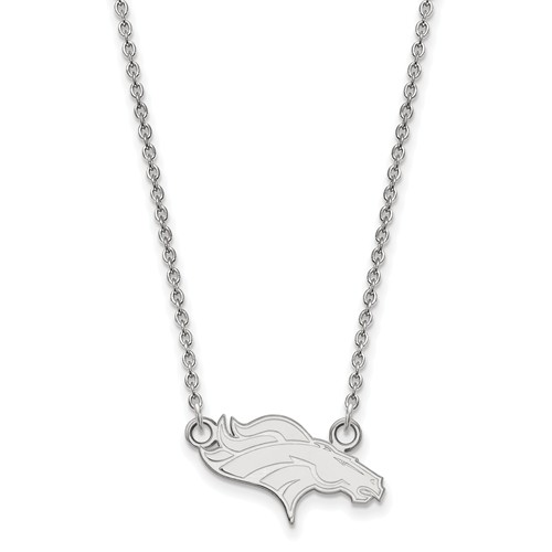 Sterling Silver Small Denver Broncos Pendant with 18in Chain