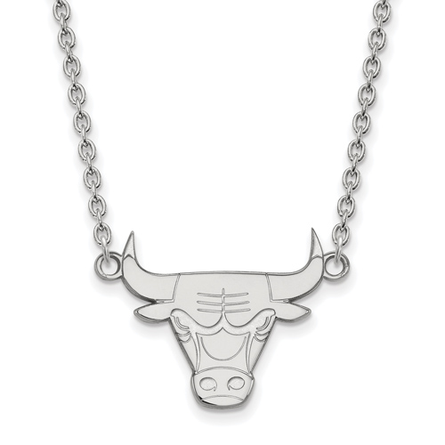 Sterling Silver Chicago Bulls Pendant on 18in Chain