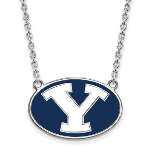 Brigham Young University Enamel Necklace 3/4in Sterling Silver
