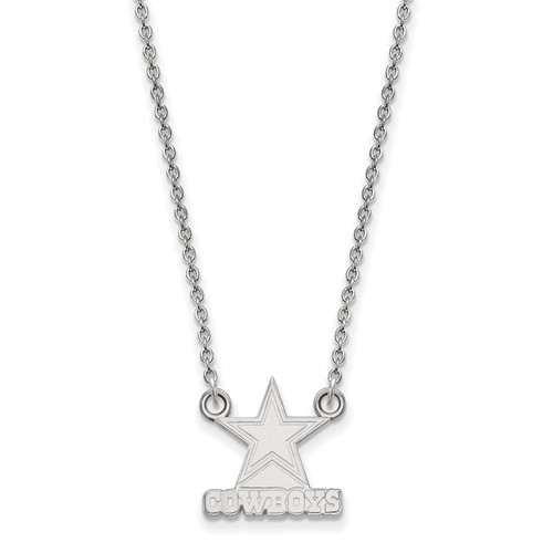 Sterling Silver Small Dallas Cowboys Pendant with 18in Chain