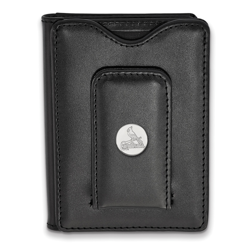 Sterling Silver St. Louis Cardinals Black Leather Wallet