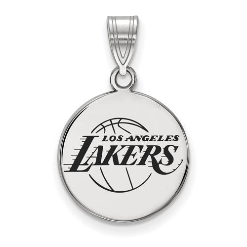 Sterling Silver 5/8in Round Los Angeles Lakers Enamel Pendant