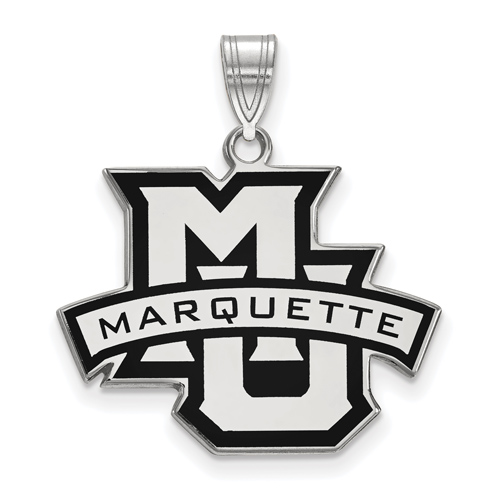 Marquette University Enamel Pendant 3/4in Sterling Silver