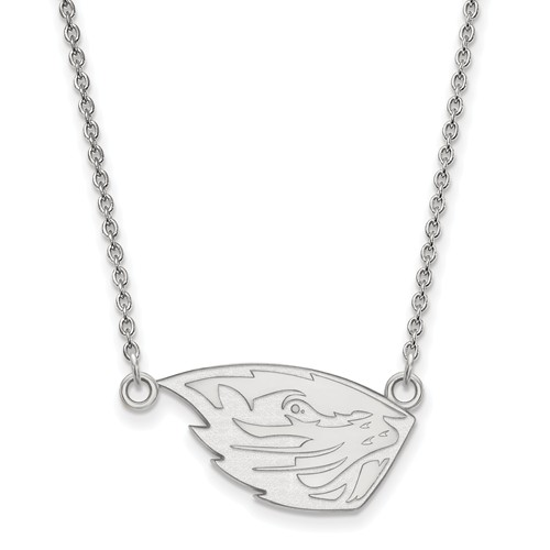 Sterling Silver 1/2in Oregon State University Pendant with 18in Chain