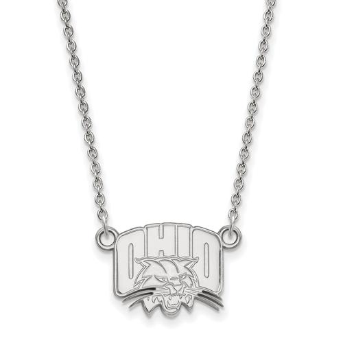 Ohio University Logo Necklace 1/2in 10k White Gold