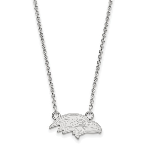 14k White Gold Small Baltimore Ravens Pendant with 18in Chain