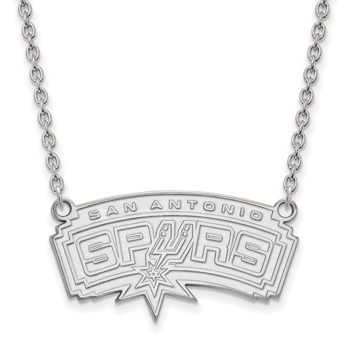 Sterling Silver San Antonio Spurs Pendant on 18in Chain