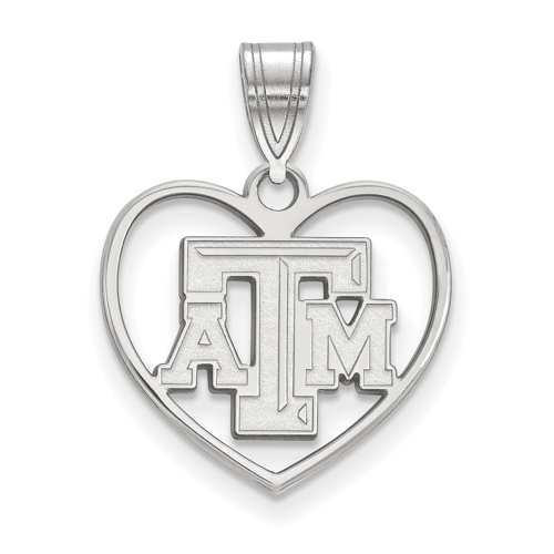 Sterling Silver 5/8in Texas A&M University Heart Pendant